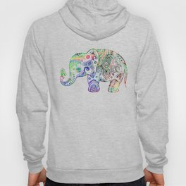 Floral paisley colorful elephant illustration Hoody