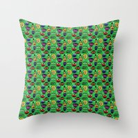 sesame street Throw Pillows featuring Sesame Street Pattern by MOONGUTS (Kyle Coughlin)