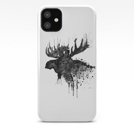 Black and White Moose Head Watercolor Silhouette iPhone Case
