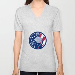 American Coal Miner USA Flag Icon Unisex V-Neck