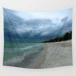 Moody  Sky Over Florida Beach Wall Tapestry
