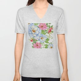Exquisite Floral Pattern in Pastel Blues and Pinks Unisex V-Neck