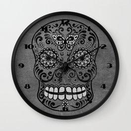 Dark gothic silver grey sugar skull Wall Clock