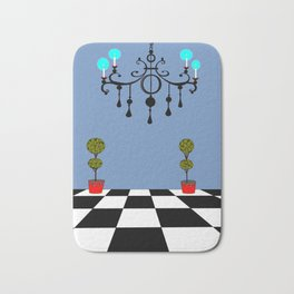 A Chandler with Checkered Tile and Topiaries Bath Mat