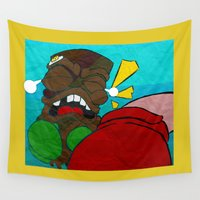tiki Wall Tapestries featuring Tiki Boxing by TEMOANA