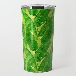 Banana leaves watercolor pattern Travel Mug