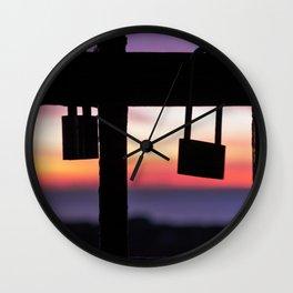 Seals of Love at Sunset. Wall Clock