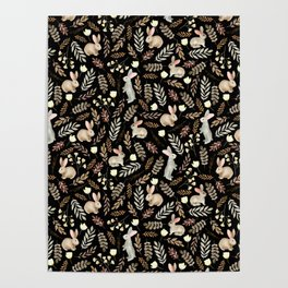 Cute rabbits. Vintage black pattern Poster