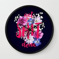 get shit done Wall Clocks featuring Get Shit Done by farsidian