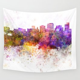 Spokane skyline in watercolor background Wall Tapestry
