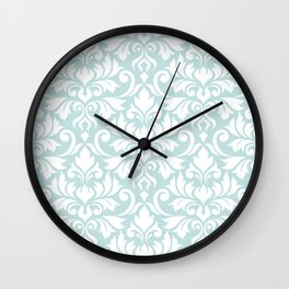 Flourish Damask Big Ptn White on Duck Egg Blue Wall Clock