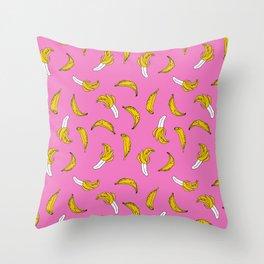 Banana pattern pink print cute minimal bananas by andrea lauren fruit drawing Throw Pillow