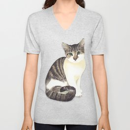 Charming the fat cat that likes to eat a lot Unisex V-Neck