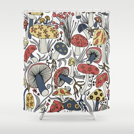 Hand-drawn mushrooms in muted blues, reds and yellows Shower Curtain