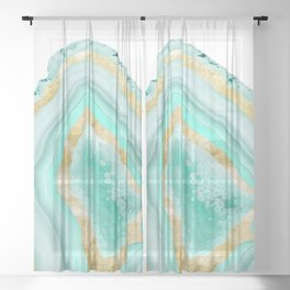 Agate Gold Foil Glam #2 #gem #decor #art #society6 Sheer Curtain