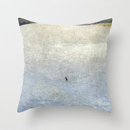 Plight of the Lonely Skier, Snowy Alpine Landscape by Cuno Amiet Throw Pillow