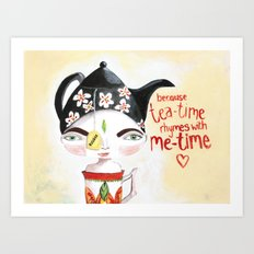 Miss Tea-Time Art Print