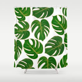 Modern hand painted green faux gold monster leaves Shower Curtain