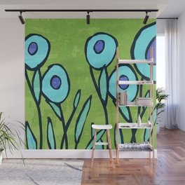 Hippie Flower Garden turquoise and avocado Wall Mural