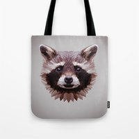 raccoon Tote Bags featuring Raccoon by Roxy Color