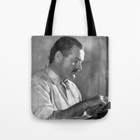 hemingway Tote Bags featuring Ernest Hemingway  by Limitless Design