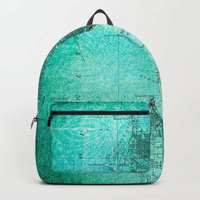 Turquoise Seattle Map Design Backpack