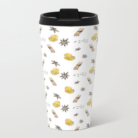 Seamless pattern with lemon slices and spices Metal Travel Mug