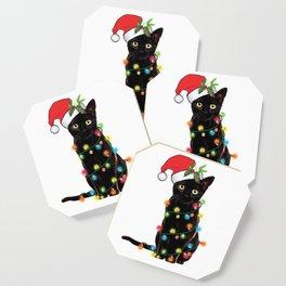 Santa Black Cat Tangled Up In Lights Christmas Santa Graphic Coaster