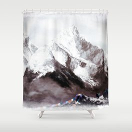 Panoramic View Of Everest Mountain Painting Shower Curtain