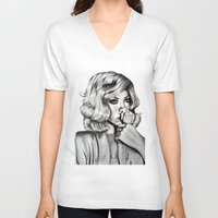rihanna V-neck T-shirts featuring Rihanna by Ellie Wilson Designs