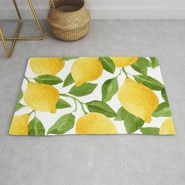 Yellow Lemon Watercolor Fruit Rug