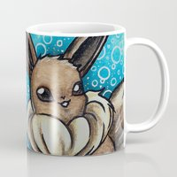eevee Mugs featuring 133- Eevee by Lyxy