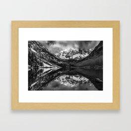Shades of Aspen - Maroon Bells in Black and White Framed Art Print