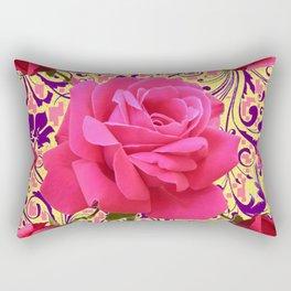 PINK ROSE FLOWERS ON  PINK & YELLOW FILIGREE Rectangular Pillow