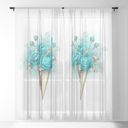 Waffle Cone with Turquoise Roses Sheer Curtain
