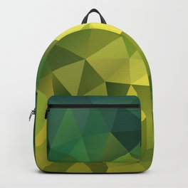 Abstract of triangles polygon in green yellow lime colors Backpack
