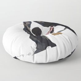 English Springer spaniel dog b/w Floor Pillow