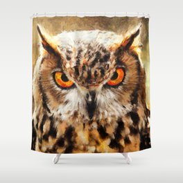 owl look digital painting orcstd Shower Curtain