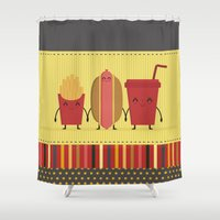 french fries Shower Curtains featuring hamburger  french fries and soda by ValoValo