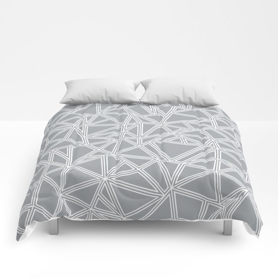 Shattered Ab Grey and White Comforters