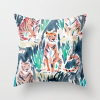 tigers Throw Pillows featuring Sitting Tigers by Barbarian // Barbra Ignatiev