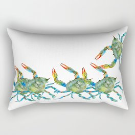 Watercolor Atlantic Blue Crab Rectangular Pillow