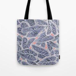 Tropical Caladium Leaves Pattern - Purple Gray Coral Tote Bag