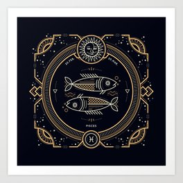Pisces Zodiac Golden White on Black Background Kunstdrucke