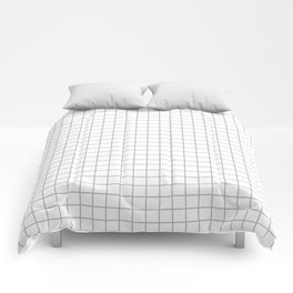 Minimalist Window Pane Grid, Gray on White Comforters