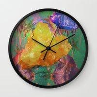minerals Wall Clocks featuring Minerals, Minerals by Paula Morales