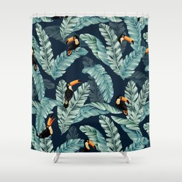 Toucans on Emerald Banana Leaves Shower Curtain