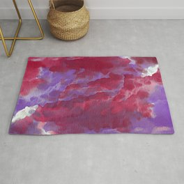 Hand painted pink violet watercolor  abstract clouds brushstrokes Rug