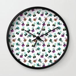 Photography Cameras Pattern Wall Clock