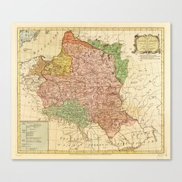 Kingdom of Poland and the Grand Dutchy of Lithuania Map (circa 1770) Canvas Print